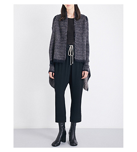 RICK OWENS Chain-detail textured knitted cardigan (Striped