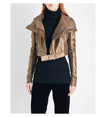 RICK OWENS Cropped metallic-leather biker jacket (Copper+lame