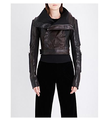 RICK OWENS Bar-detail leather jacket (Violet