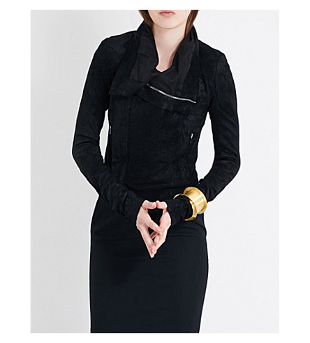 RICK OWENS Funnel-collar suede jacket (Black