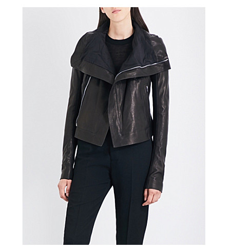 RICK OWENS Biker-collar leather jacket (Black