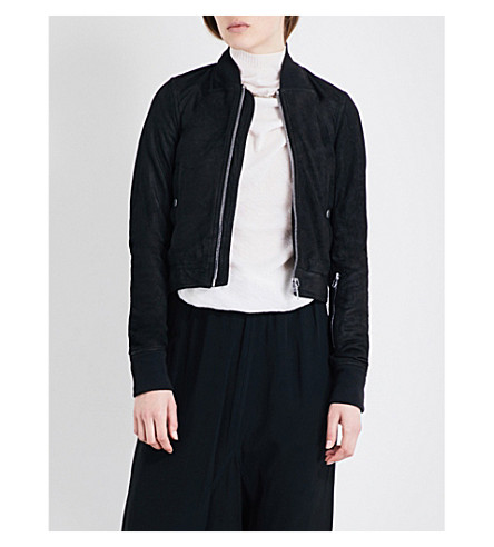 RICK OWENS Cropped leather bomber jacket (Black