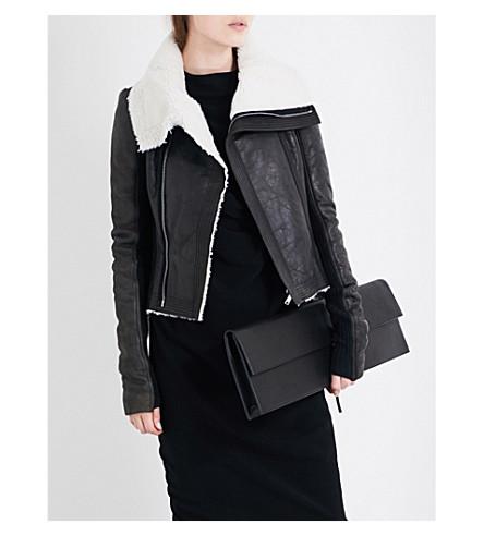 RICK OWENS Shearling-lined leather biker jacket (Black/milk