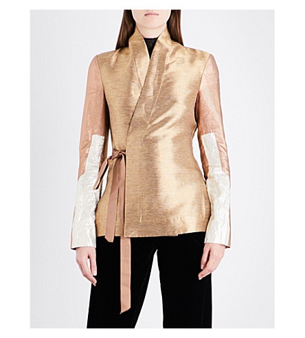 RICK OWENS Wrap-front metallic jacket (Metallic+multi