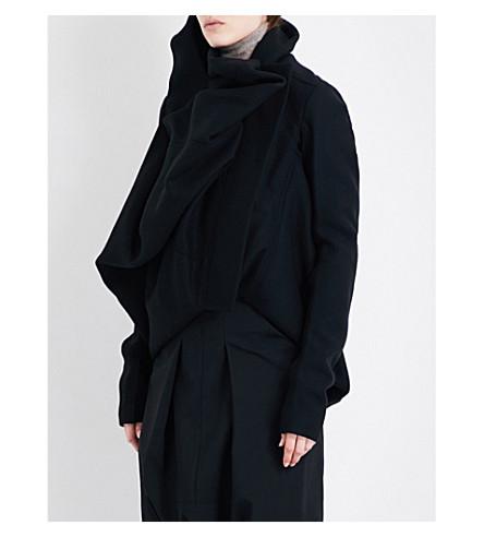 RICK OWENS Funnel-collar wool-blend jacket (Black