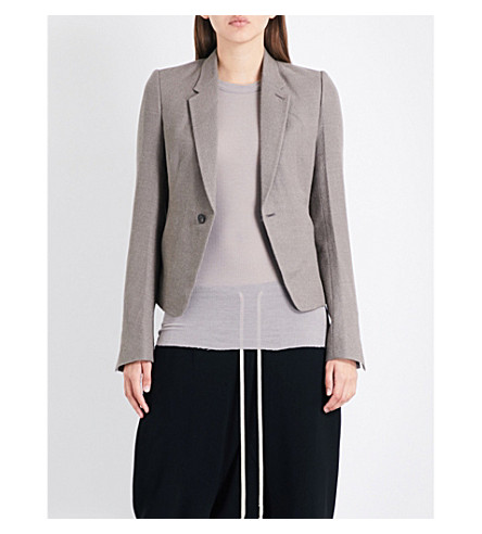 RICK OWENS Single-breasted alpaca-blend blazer (Dark+dust