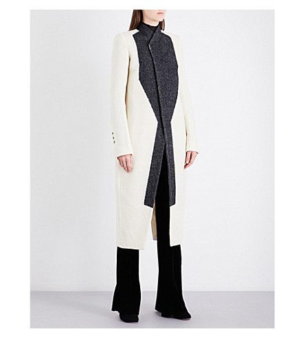 RICK OWENS New Tusk contrast-panel virgin wool-blend coat (Cream