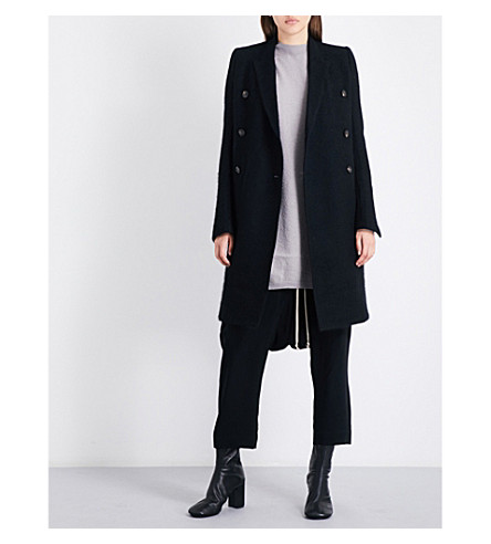 RICK OWENS Double-breasted mohair-blend peacoat (Black