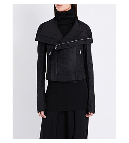 RICK OWENS Blister Classic brushed-leather biker jacket (Black