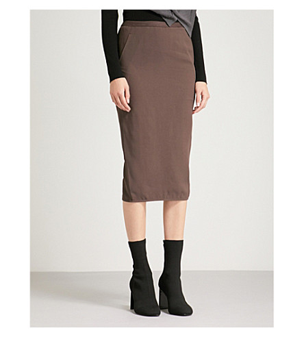 RICK OWENS Soft Pillar crepe skirt (Raisin