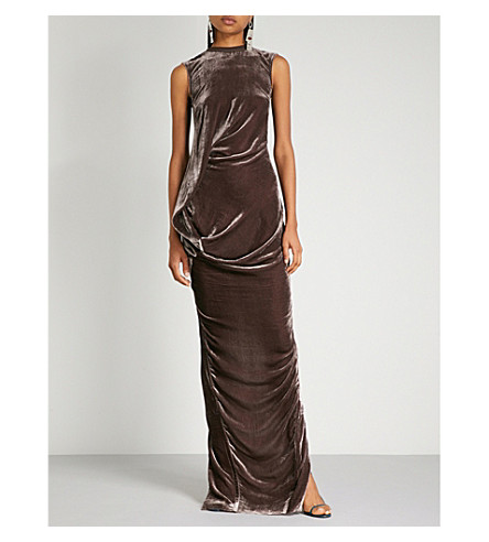 RICK OWENS Ellipse draped velvet gown (Raisin
