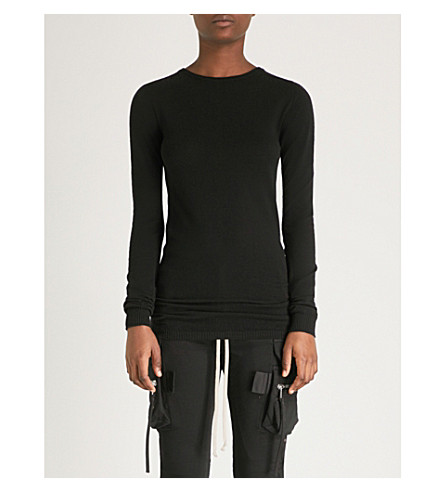 RICK OWENS 细针织羊毛毛衣 (黑色