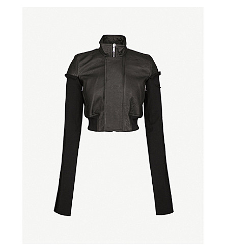 RICK OWENS Cropped leather and wool jacket (Black