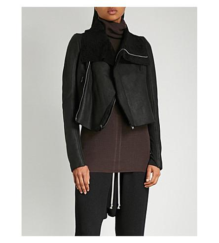 RICK OWENS 皮革和羊毛夹克 (黑色