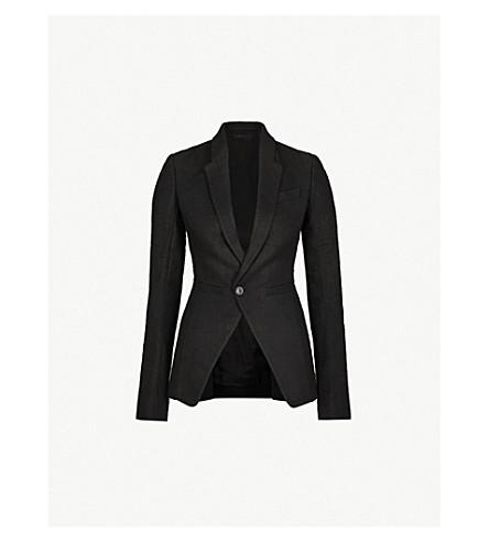RICK OWENS Slim-fit linen and camel-blend blazer (Black