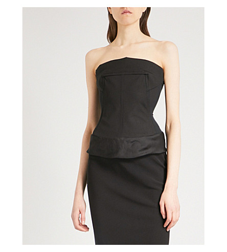 RICK OWENS Strapless mesh corset top (Black
