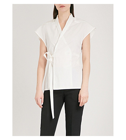 RICK OWENS V-neck cotton and silk-blend wrap top (Milk