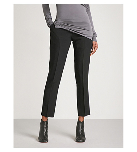 RICK OWENS Austin tapered cropped mid-rise silk trousers (Black