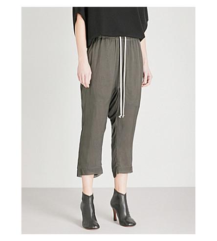 RICK OWENS Drop-crotch silk trousers (Dark+dust