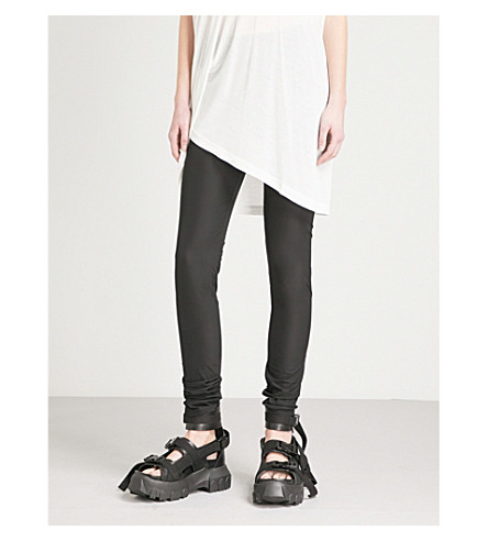 RICK OWENS Ruched stretch-crepe leggings (Black
