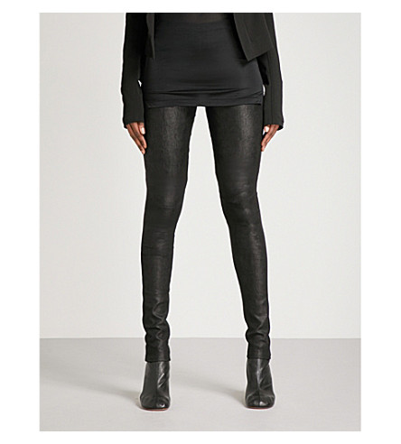 RICK OWENS Skinny high-rise leather trousers (Black