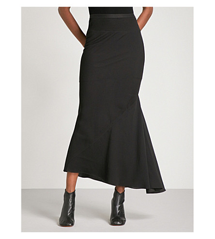RICK OWENS Flared-panel fitted high-rise crepe midi skirt (Black