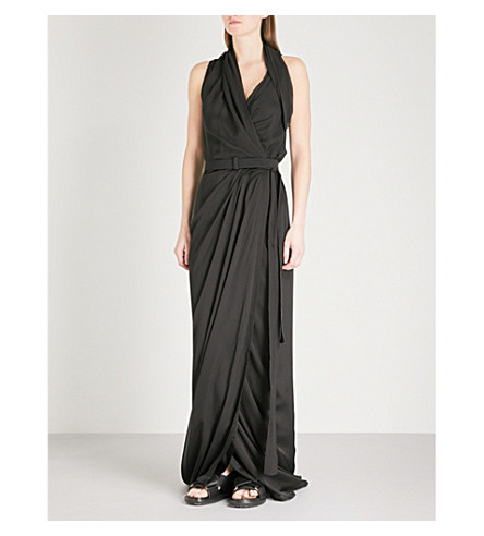 RICK OWENS Limo asymmetric silk maxi dress (Black