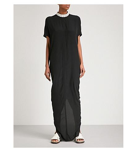 RICK OWENS Island silk column gown (Black/pearl