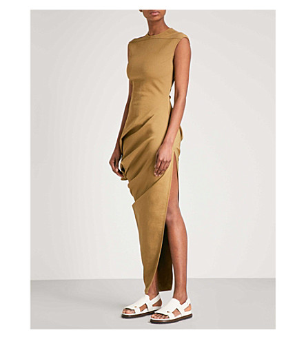 RICK OWENS Walrus cotton-blend column gown (Fern+green