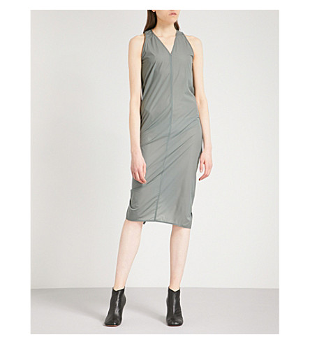 RICK OWENS Wrap-over back shell midi dress (Sage