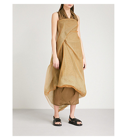 RICK OWENS Asymmetric draped mesh midi dress (Fern+mix