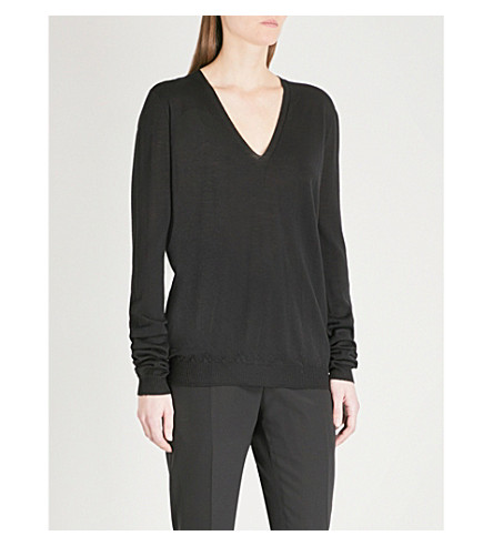 RICK OWENS V-neck wool jumper (Black