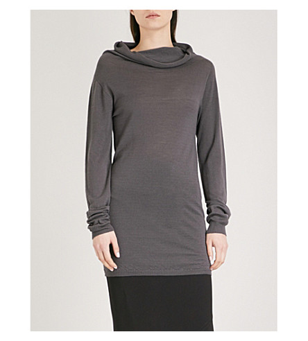 RICK OWENS Cowl-neck wool jumper (Iron