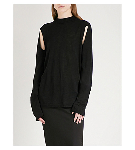 RICK OWENS Slit-detail wool jumper (Black