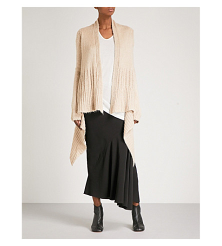 RICK OWENS Slouchy-fit knitted silk cardigan (Natural