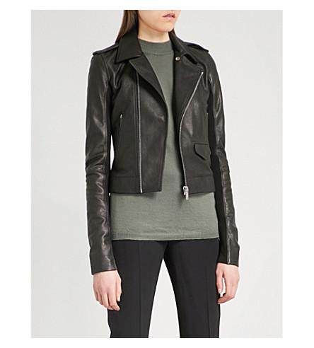 RICK OWENS Asymmetric wool-trim leather jacket (Black