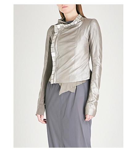 RICK OWENS Bead-embellished metallic leather biker jacket (Warm+silver/silver