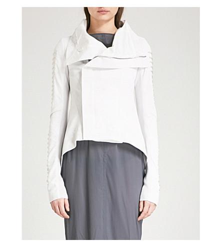 RICK OWENS Asymmetric leather biker jacket (Chalk+white/silver