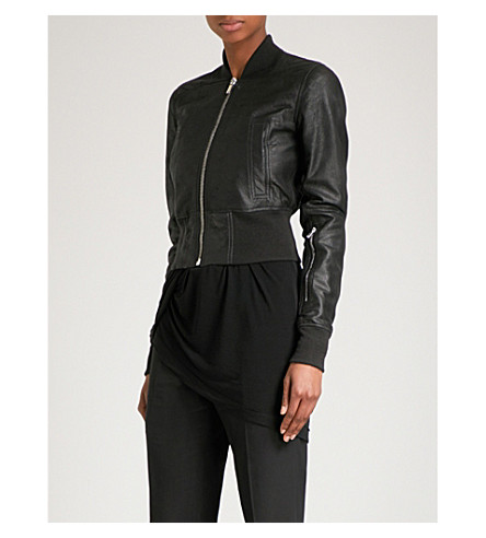 RICK OWENS Blister leather bomber jacket (Black