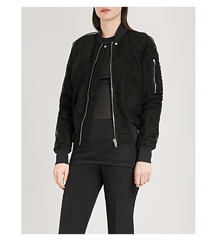 RICK OWENS Pleated tulle bomber jacket (Black+mix