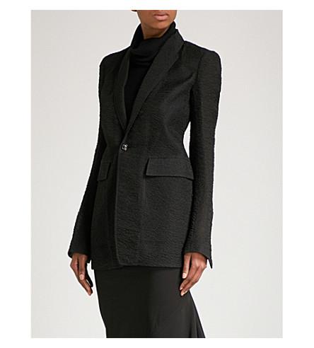 RICK OWENS 质感丝绸混纺纱夹克 (黑色