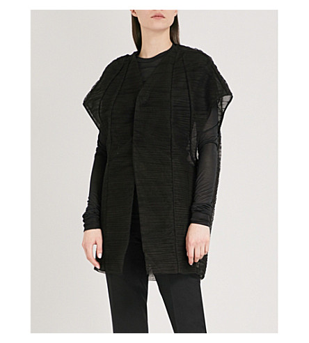 RICK OWENS Lido V-neck tulle coat (Black+mix