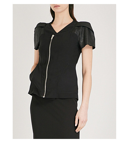 RICK OWENS Nymph leather-sleeve woven top (Black
