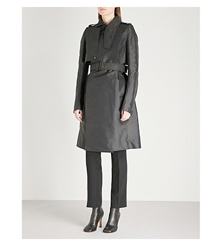 RICK OWENS Double-breasted woven trench coat (Black