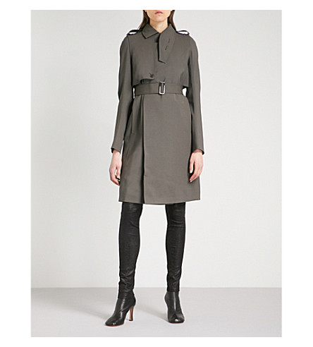 RICK OWENS Asymmetric stretch-wool trench coat (Drkdust