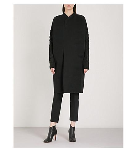 RICK OWENS Dagger embroidered cotton-blend coat (Black/shiny+black