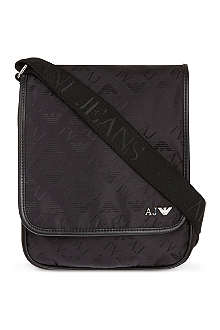 ARMANI JEANS Eagle print medium reporter bag