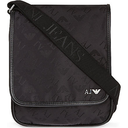 ARMANI JEANS Eagle print medium reporter bag (Black