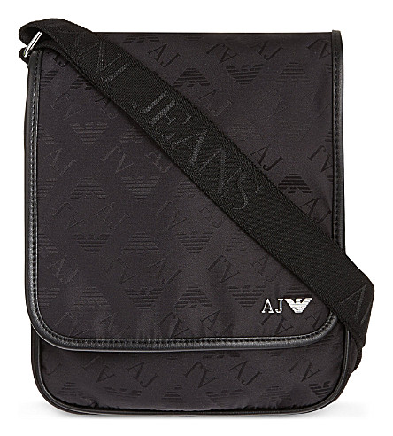 ARMANI JEANS Eagle print medium reporter bag (Black