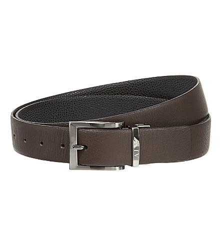 ARMANI JEANS Reversible leather belt (Black/brown